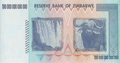 Billete de 100 billones de dólares zimbabuenses