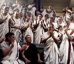 Recreación del senado de la antigua Roma.
